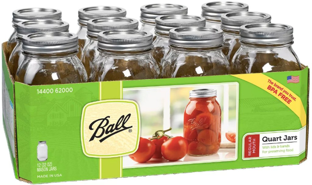 12 pack of mason jars from ball in a package