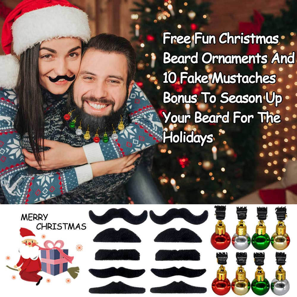woman with mustache and man with ornaments on beard