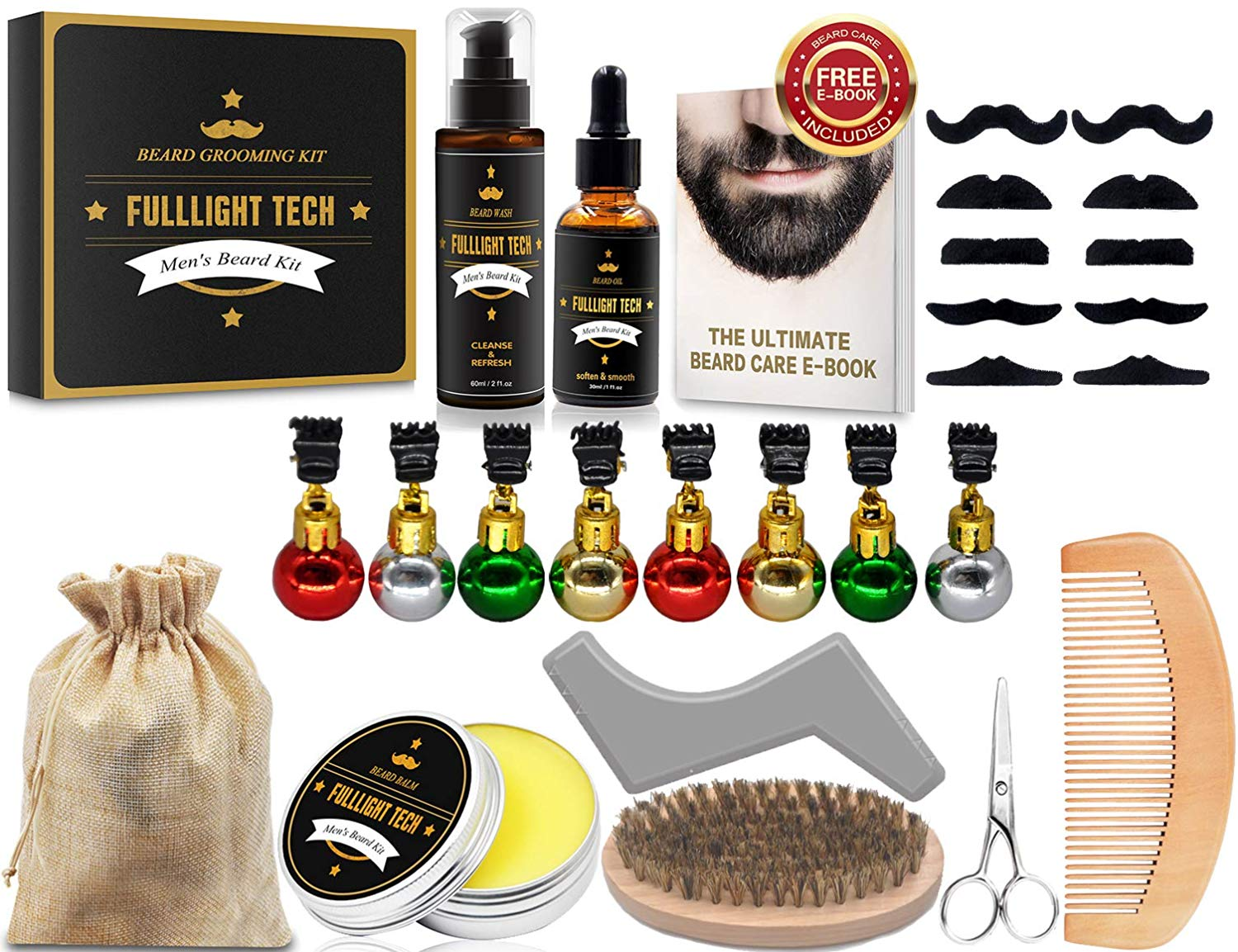 all the items you'll receive in the beard grooming kit