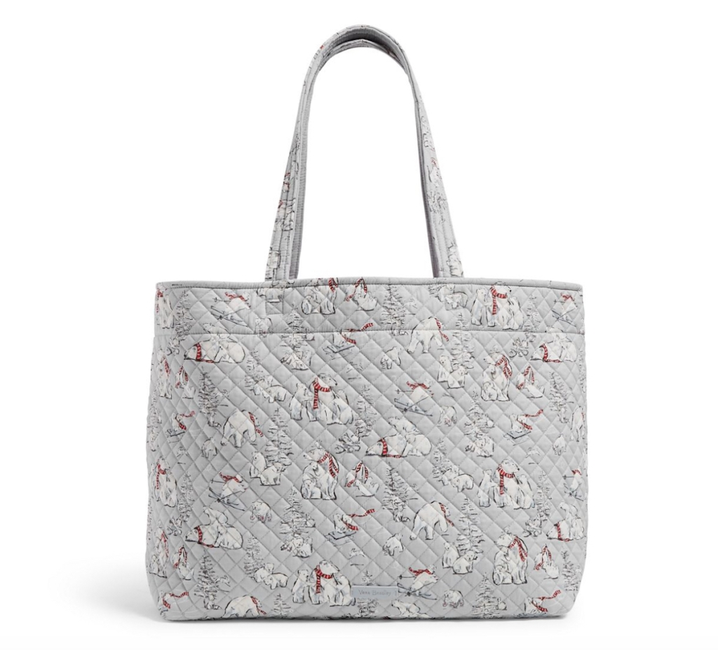 gray tote bag with polar brears on it white background