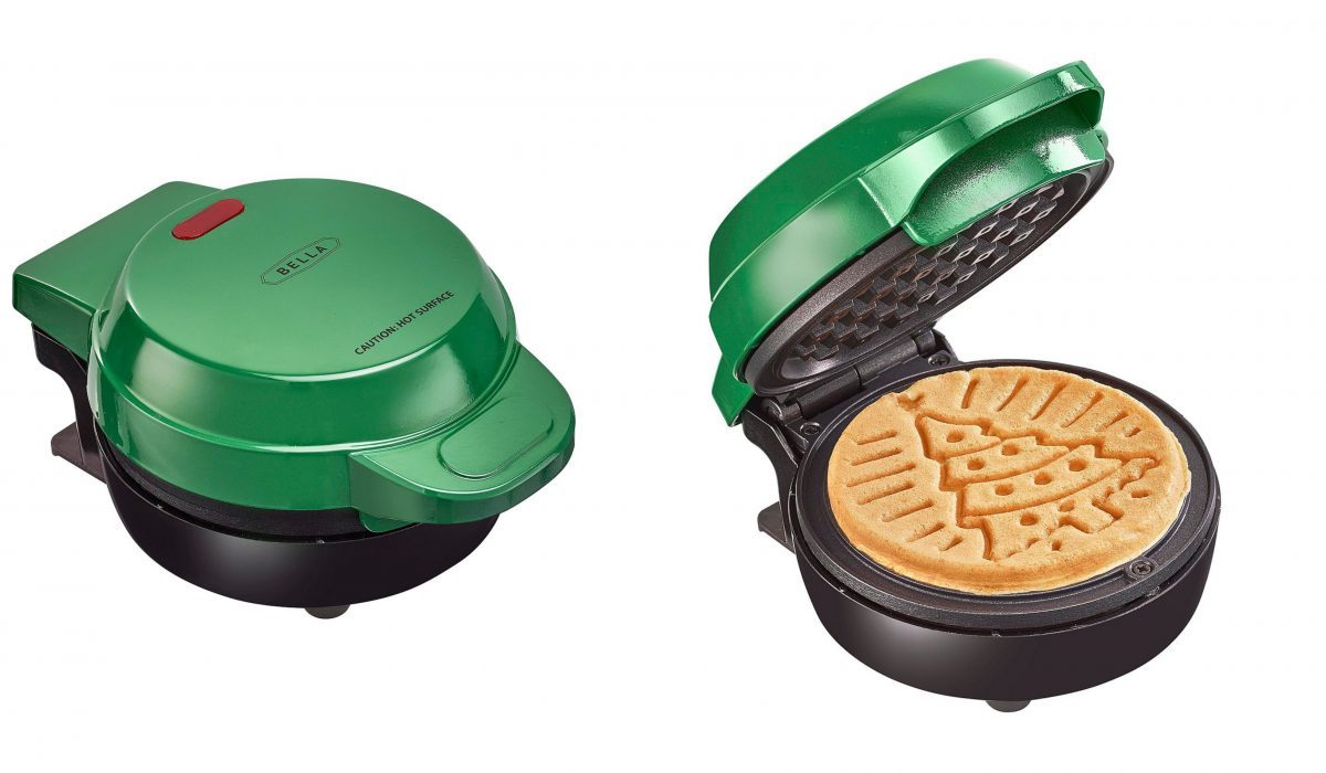 green waffle maker and waffle with Christmas tree design