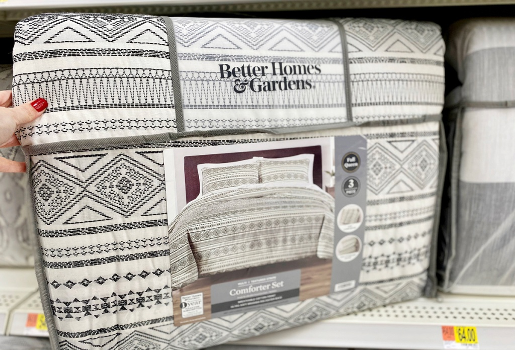 Better Homes and Gardens black and white textured comforter set at Walmart