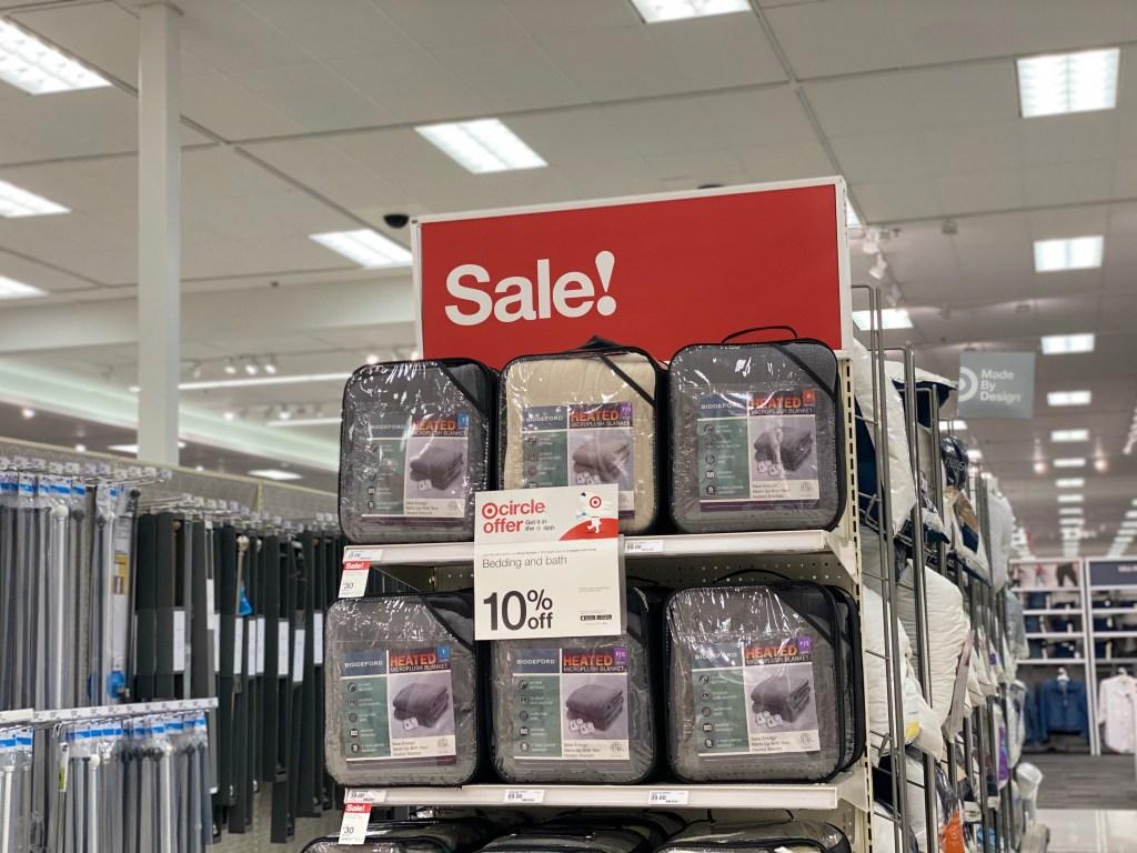 biddeford electric blankets on Target endcap