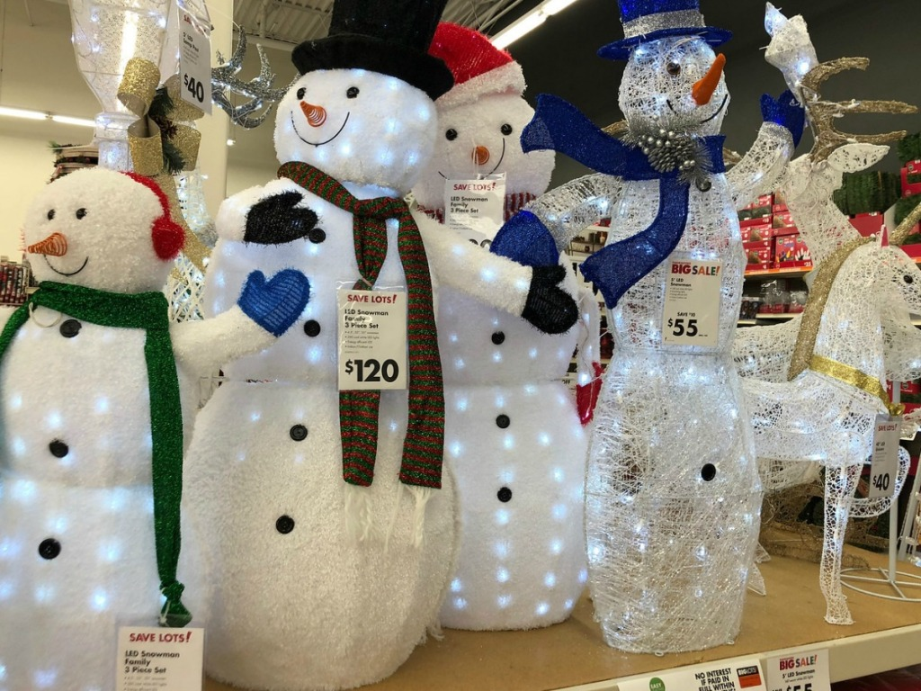 large decorative snowmen in store on display