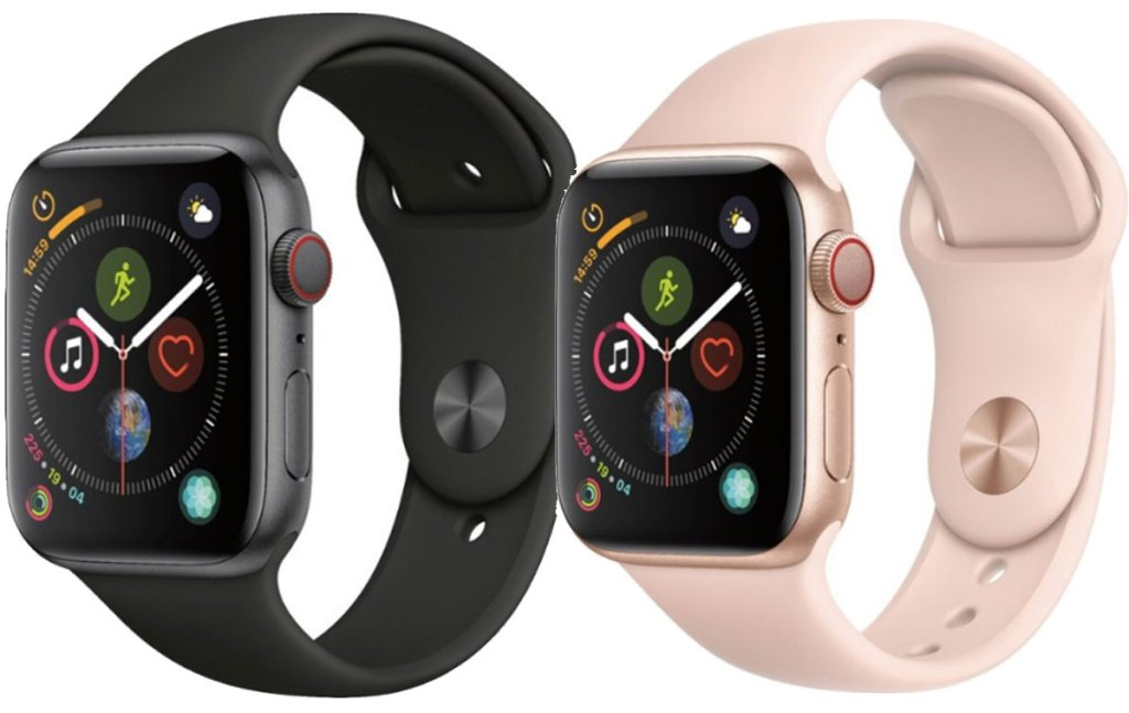apple watches gps and cellular black and pink stock images