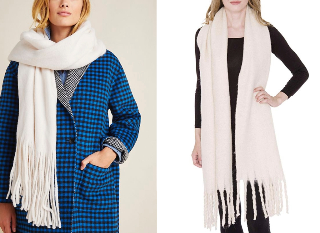 two stock photos of women wearing white blanket scarves