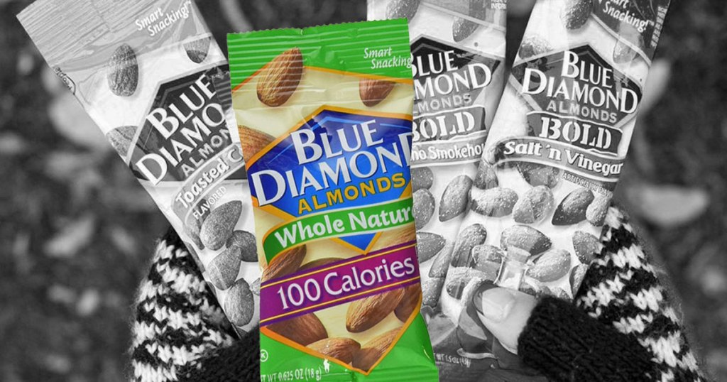 woman holding bunch of blue diamond almonds in single bags