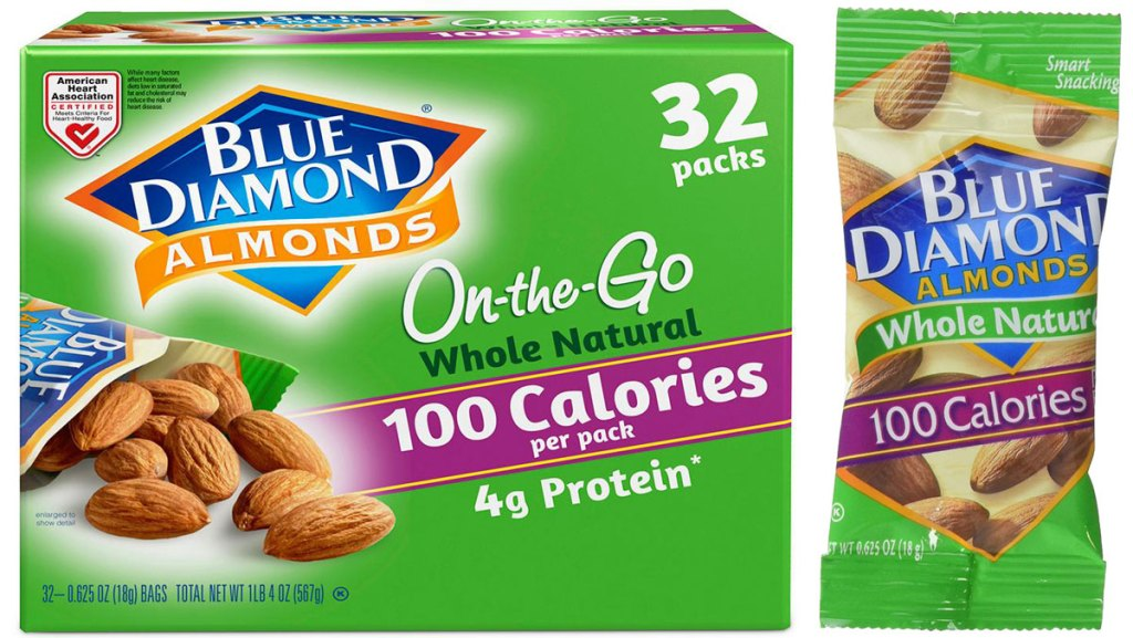 stock image of Blue Diamond Almonds Whole Natural Raw Almonds 100 Calorie On The Go Bags,