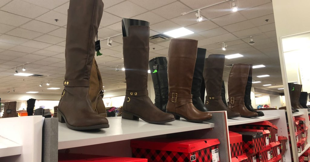 display of boots at JCPenney