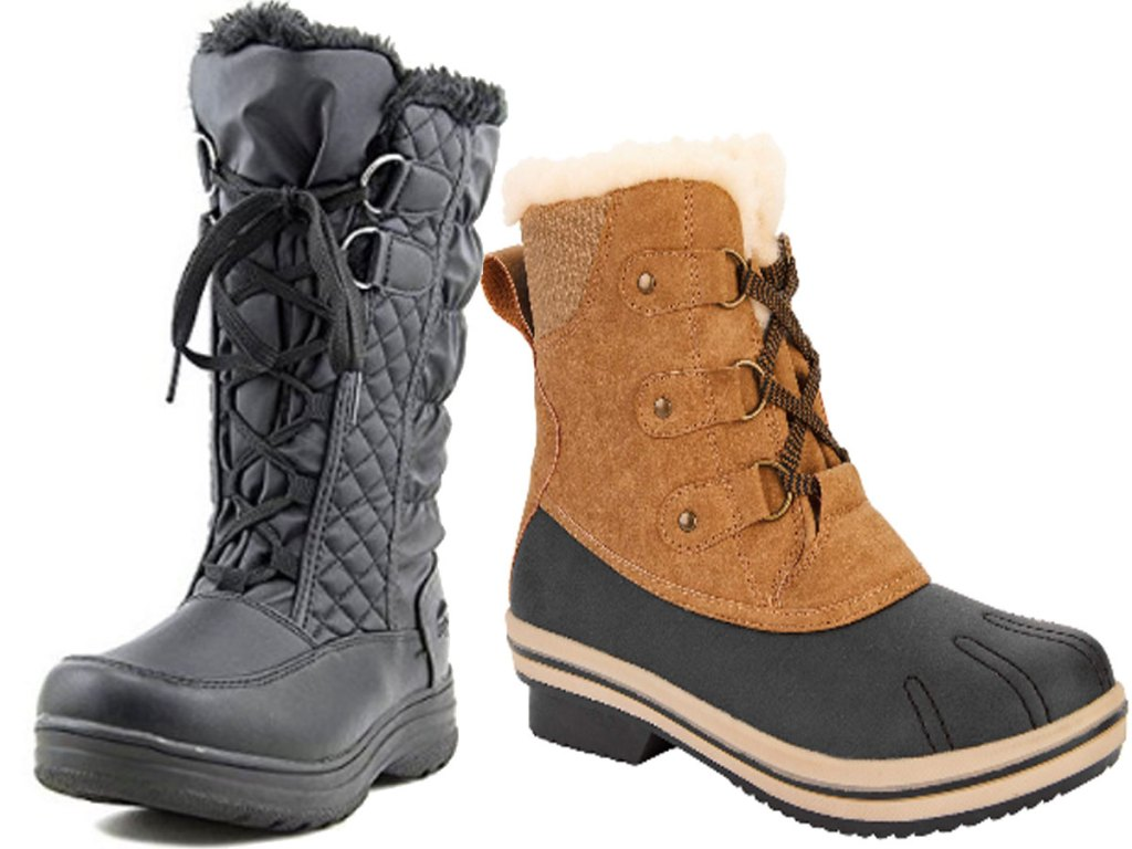 two pairs of Totes Women's Donna Inside Zip Winter Boot Wide Width