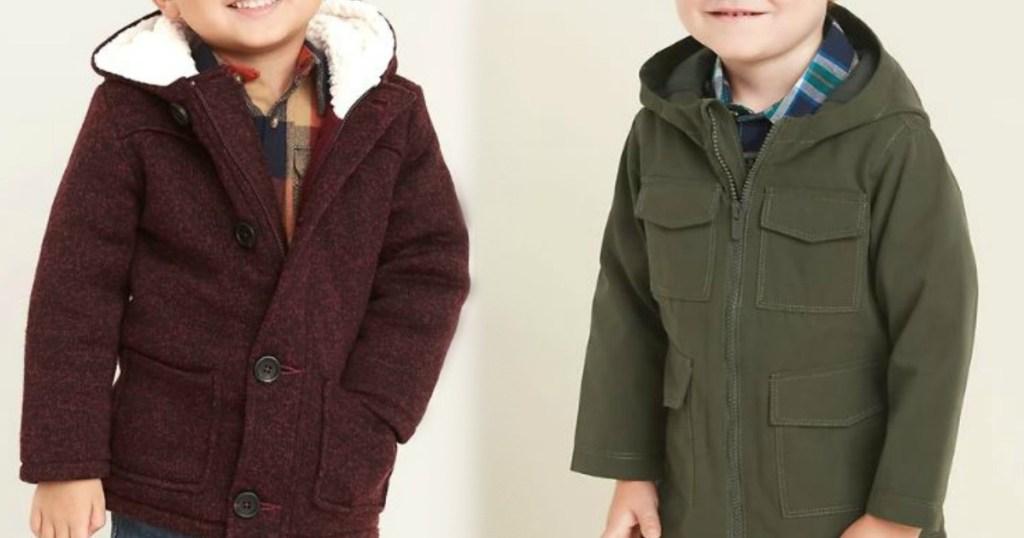 little kids wearing winter jackets