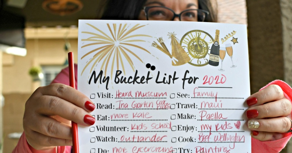 free printable bucket list for New Year's