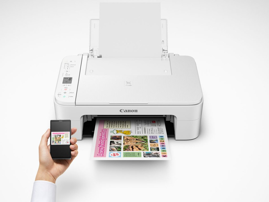 stock image of hand holding remote and Canon PIXMA TS3122 Wireless All-in-One Multifunction Inkjet Printer
