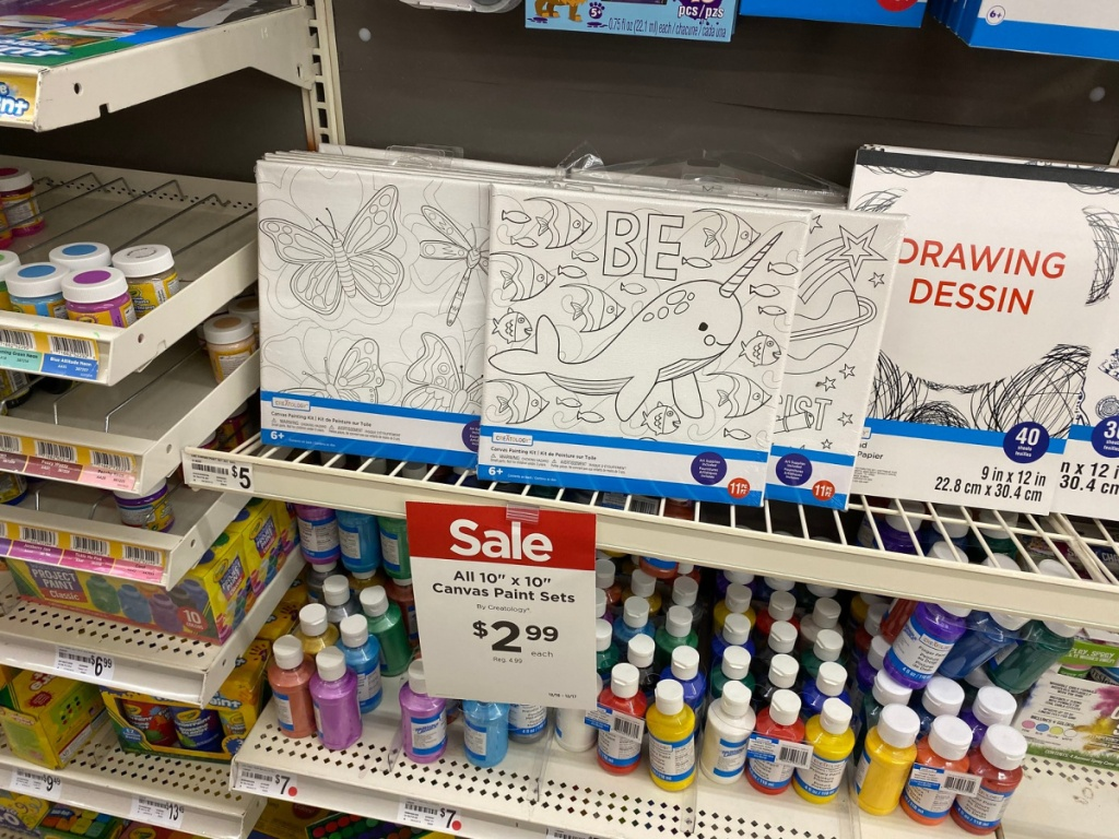 canvas paint sets in store on shelf