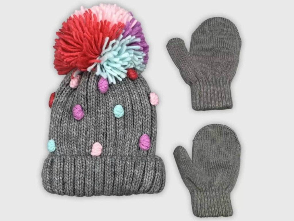 little grey hat with polka dots and matching gloves