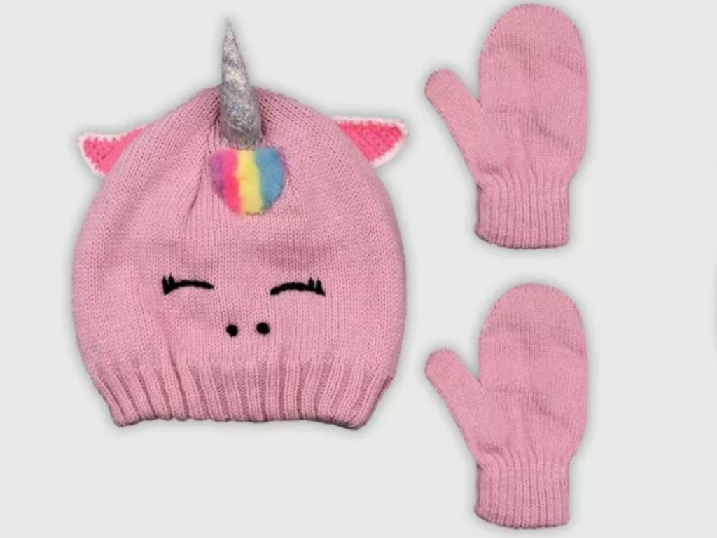pink set of hat and gloves