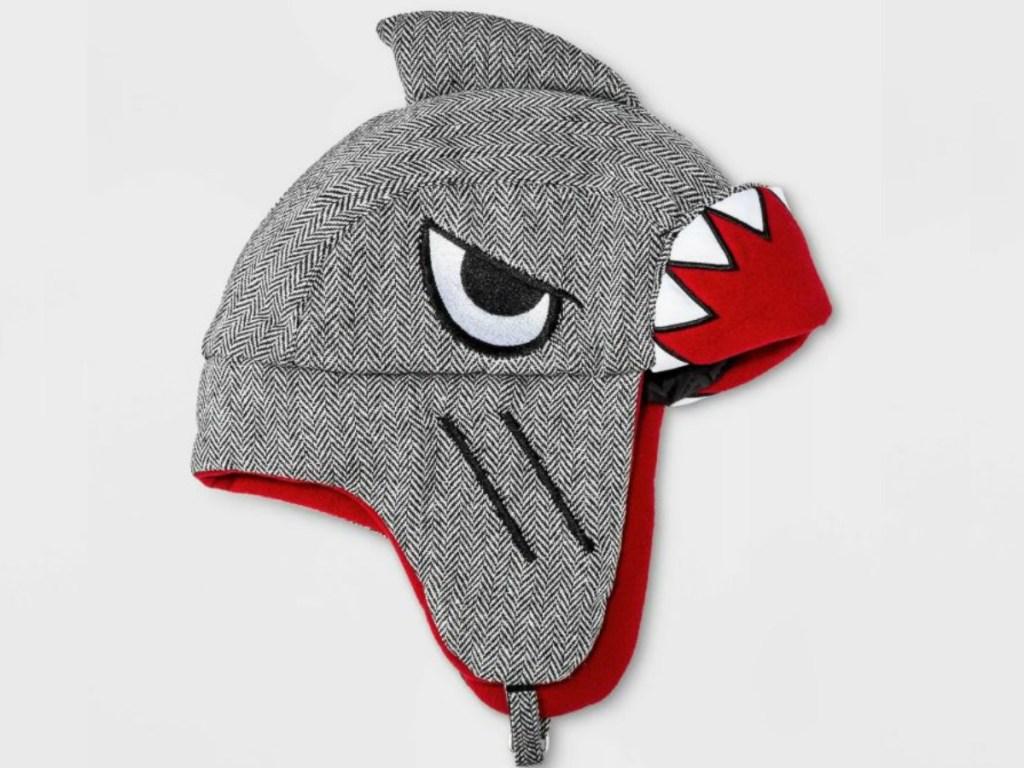 grey hat that looks like shark