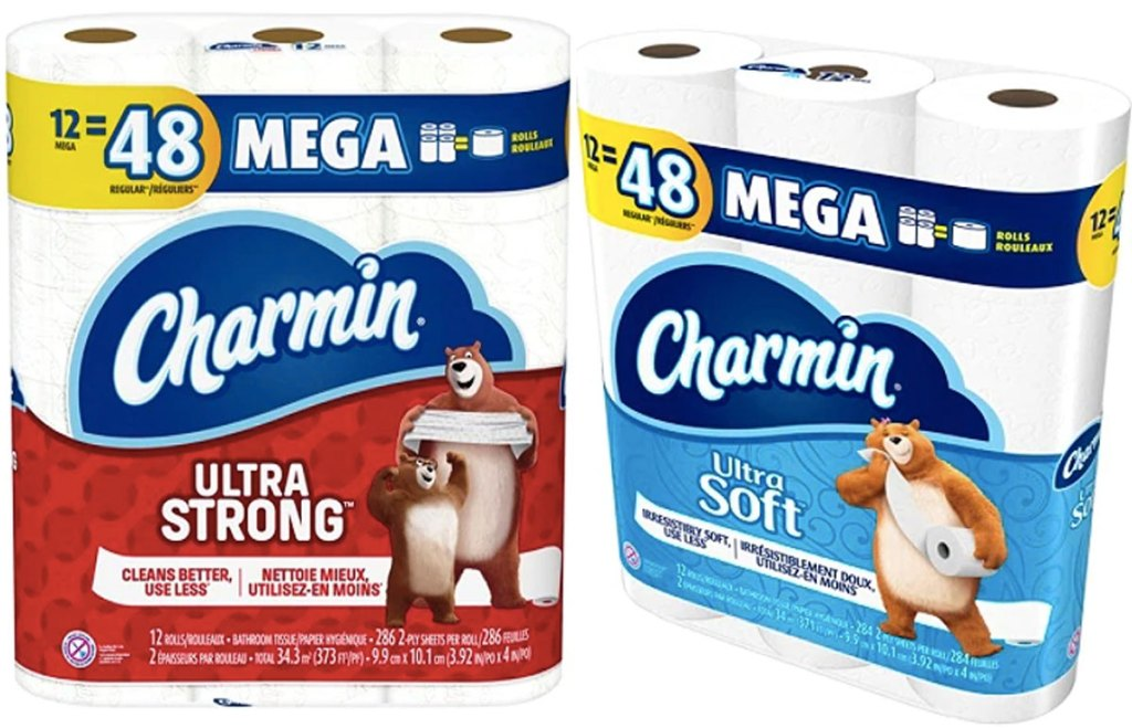stock images of charmin ultra strong and ultra soft bath tissues