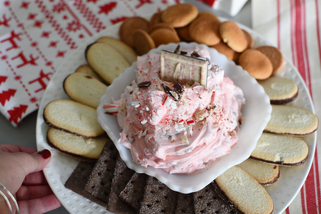 peppermint cheesecake dip on platter with cookies