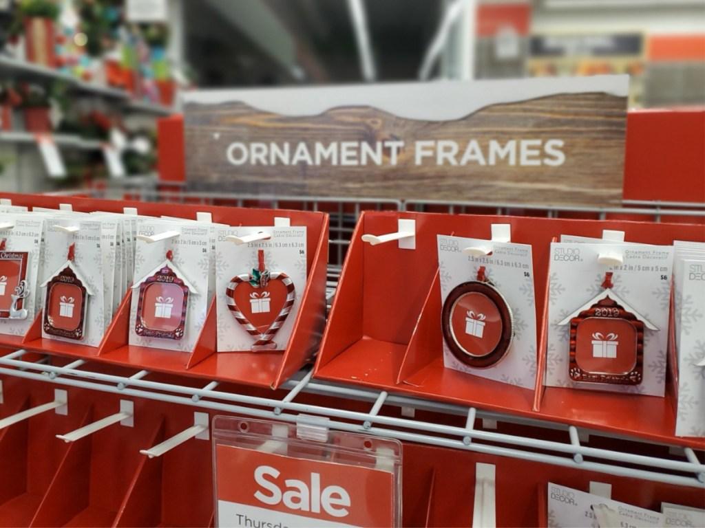 ornament frames on store shelf