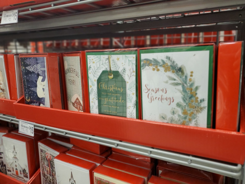 holiday greeting cards on store shelf