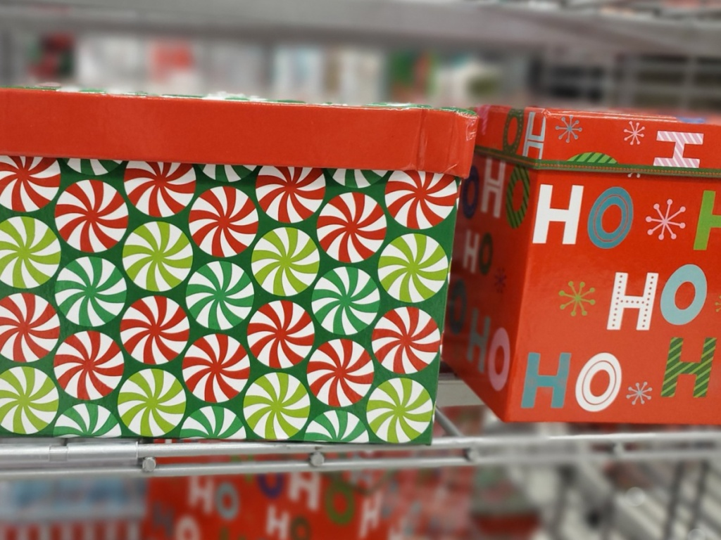 holiday boxes on store shelf
