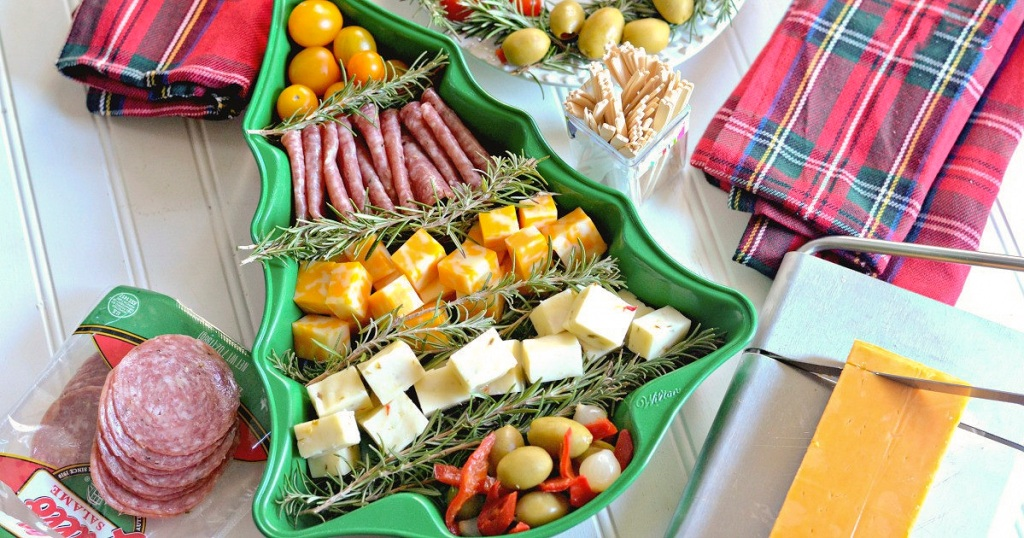 christmas tree pan cheese platter