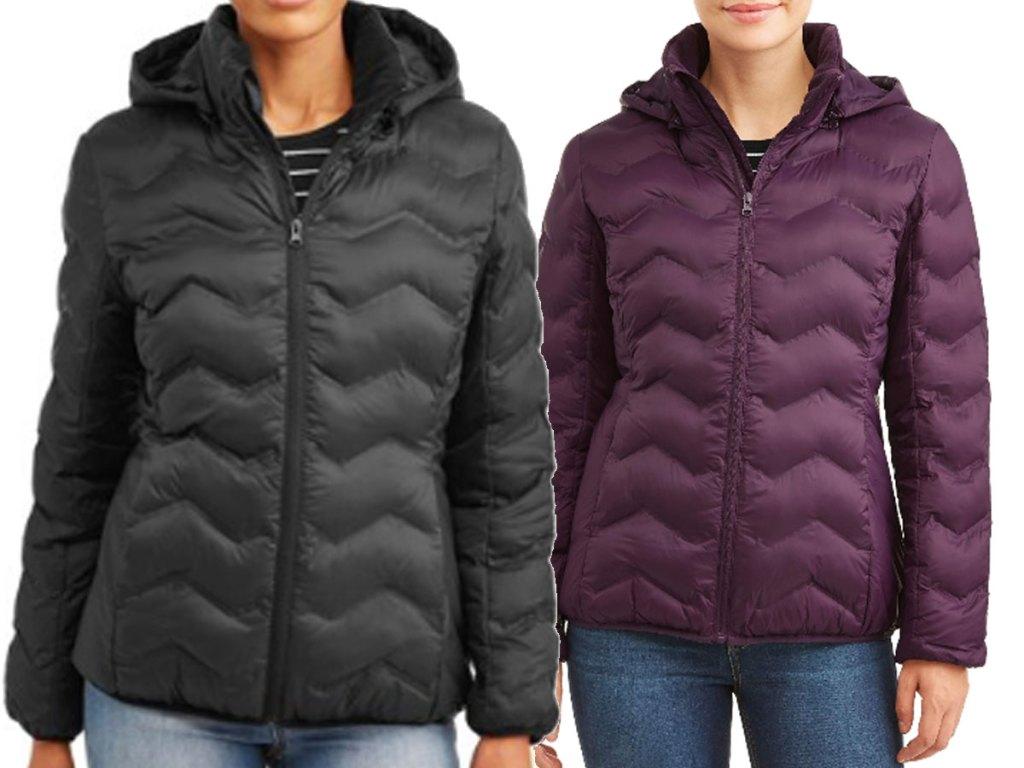 women's puffer coats stock image