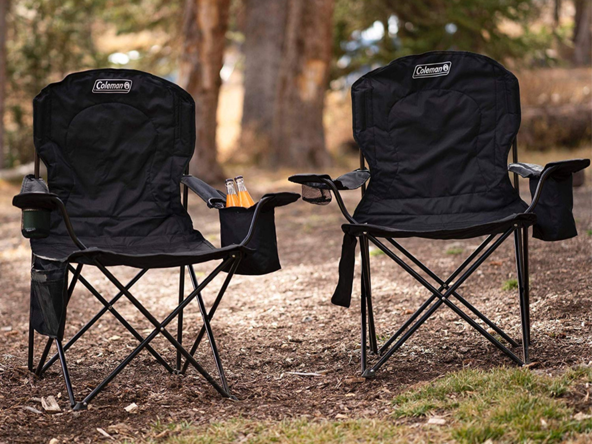 two black coleman chairs outdoors
