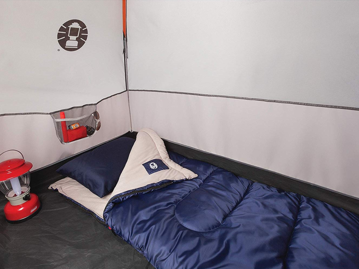 sleeping bag inside tent