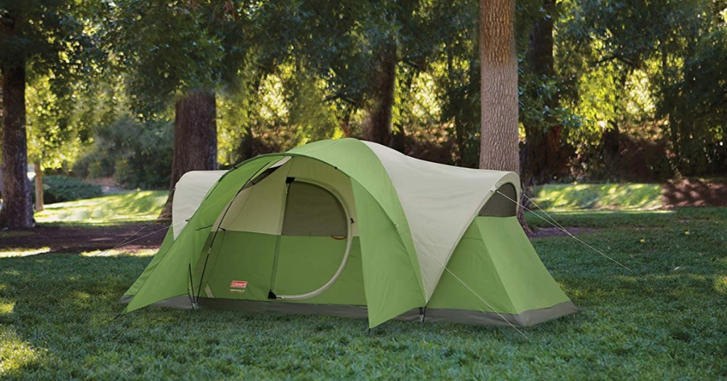 green coleman tent outside