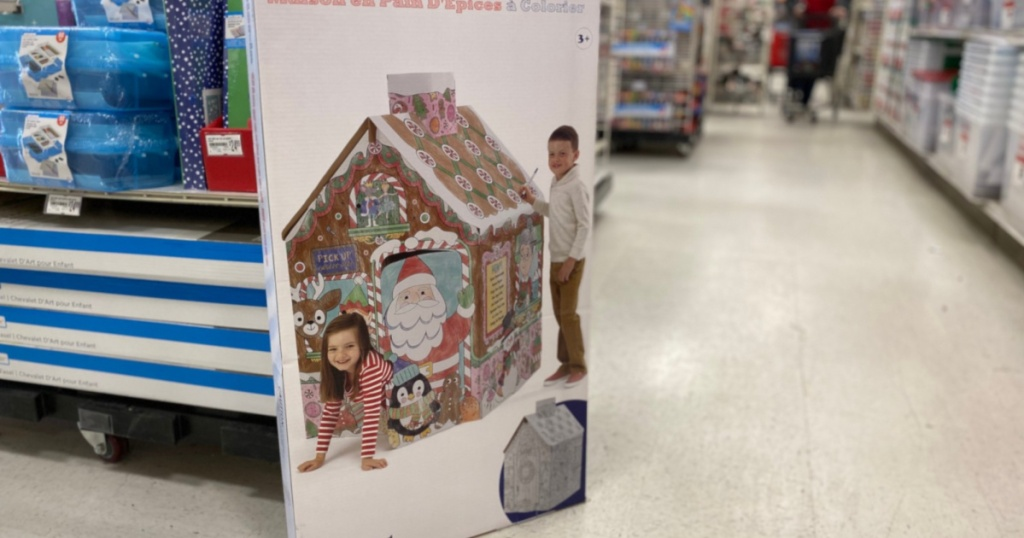 color in gingerbread playhouse on floor at store