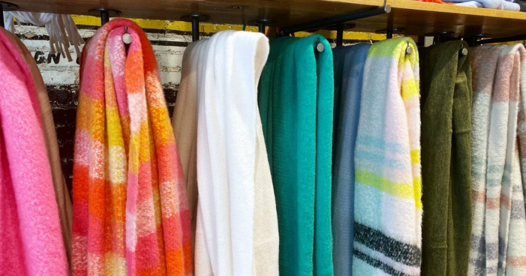 Anthropologie scarves hanging in store