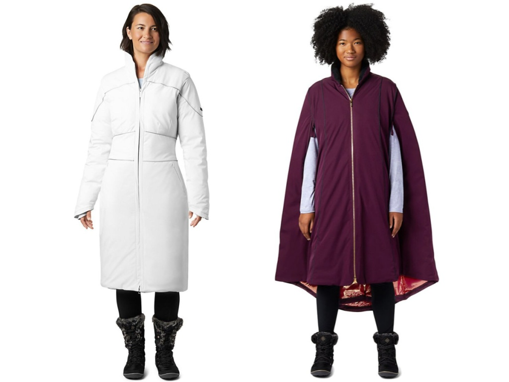 women modelling white coat and purple cape coat