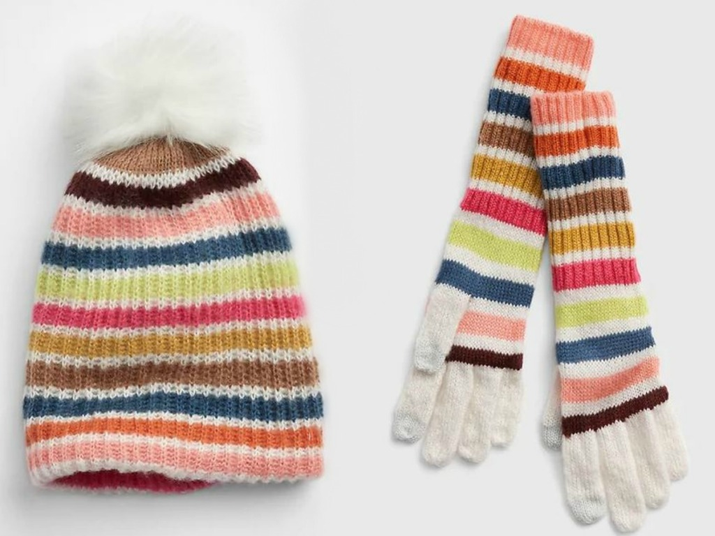 striped hat and gloves