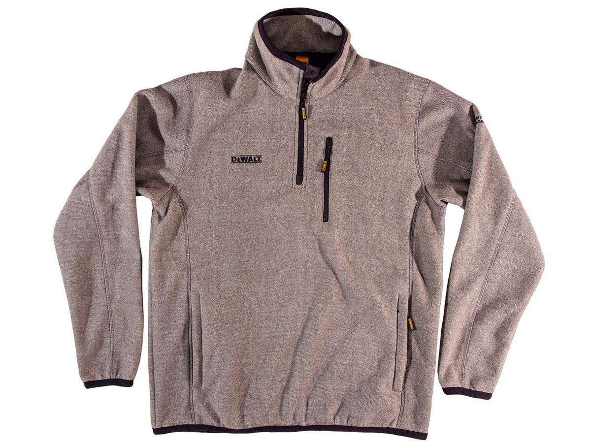 stock image of DeWalt Quarter Zip Men's Grey Marble Polyester Fleece Pullover