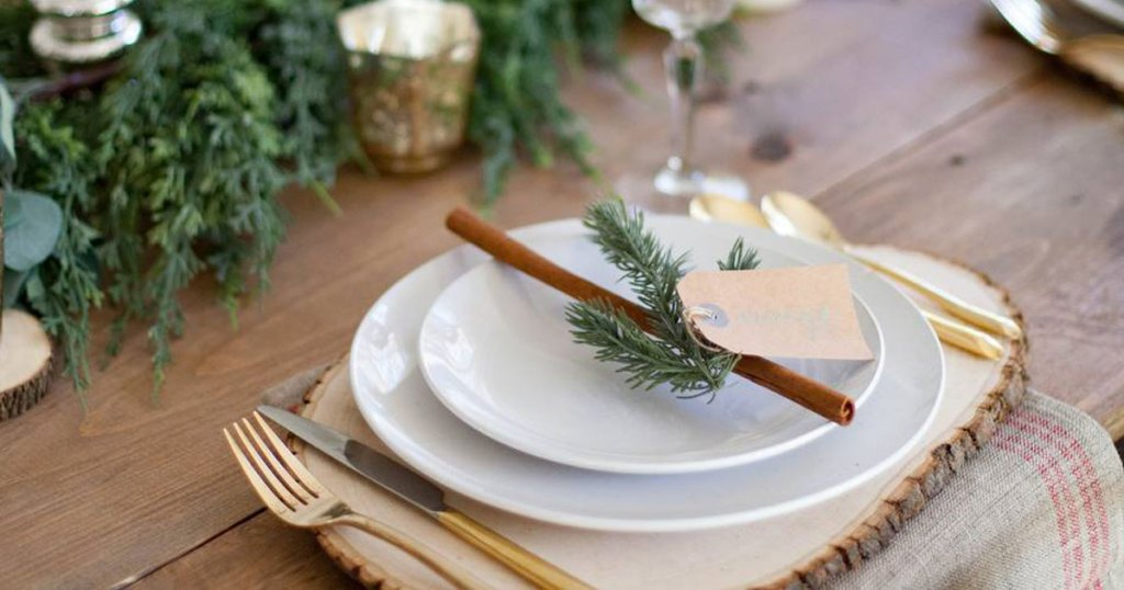 table set for holiday dinner with white dinnerware set from jcpenney