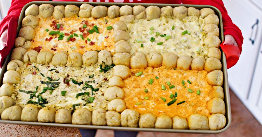 dip appetizer on sheet pan