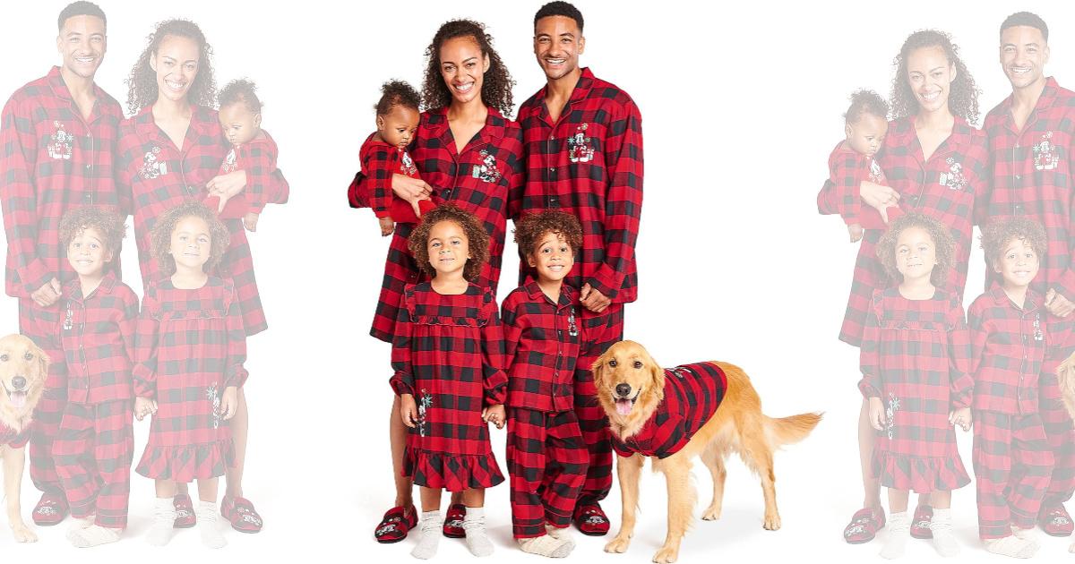 family modeling plaid pajamas