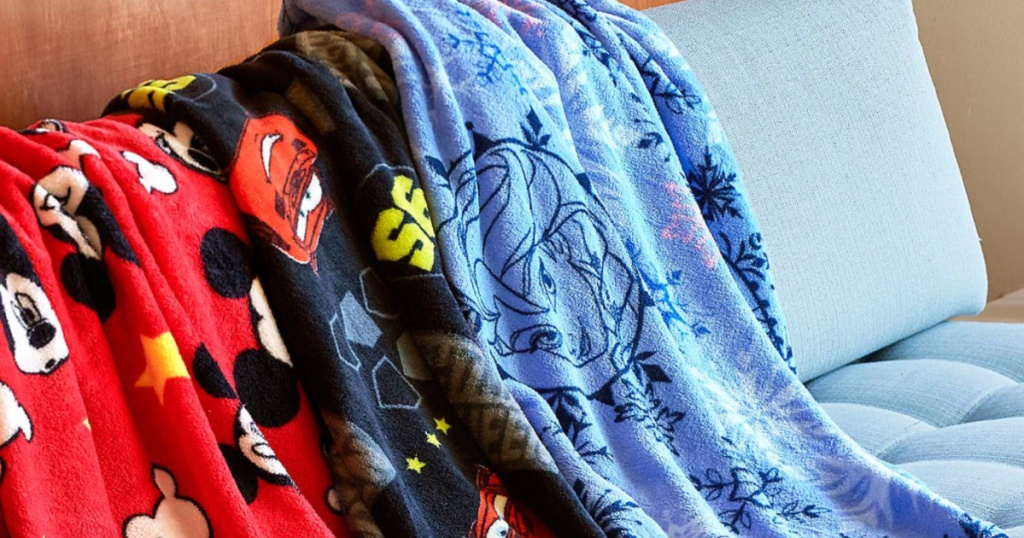 disney fleece throws on couch