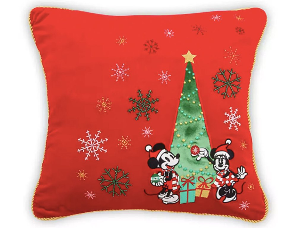 Mickey and Minnie Mouse Holiday Throw Pillow