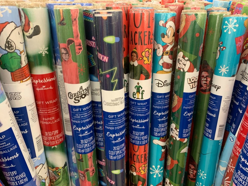 rolls of Christmas wrapping paper at Dollar Tree