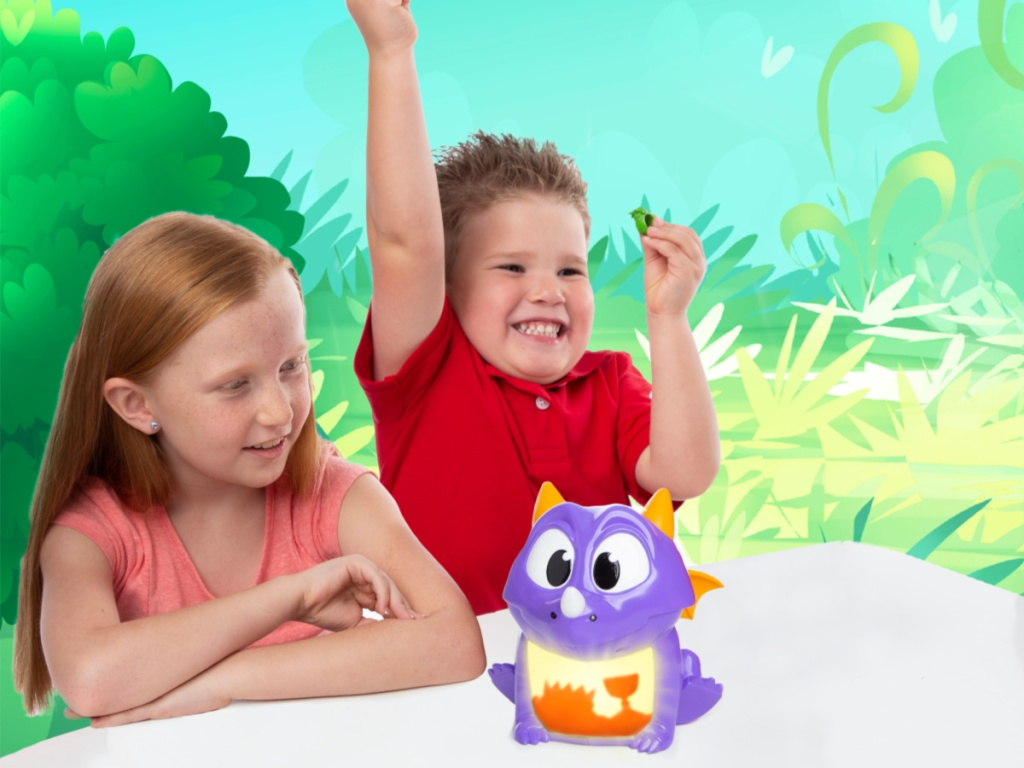 Kids playing dragon snacks game