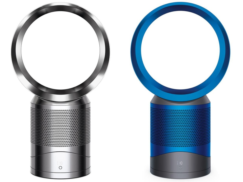 silver and blue air purifiers