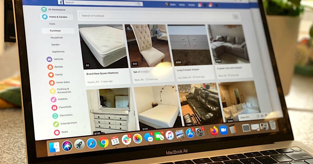 Facebook marketplace on MacBook Air screen