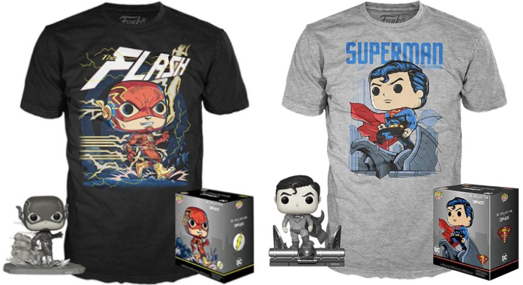 Funko POP! tshirts flash and superman stock images