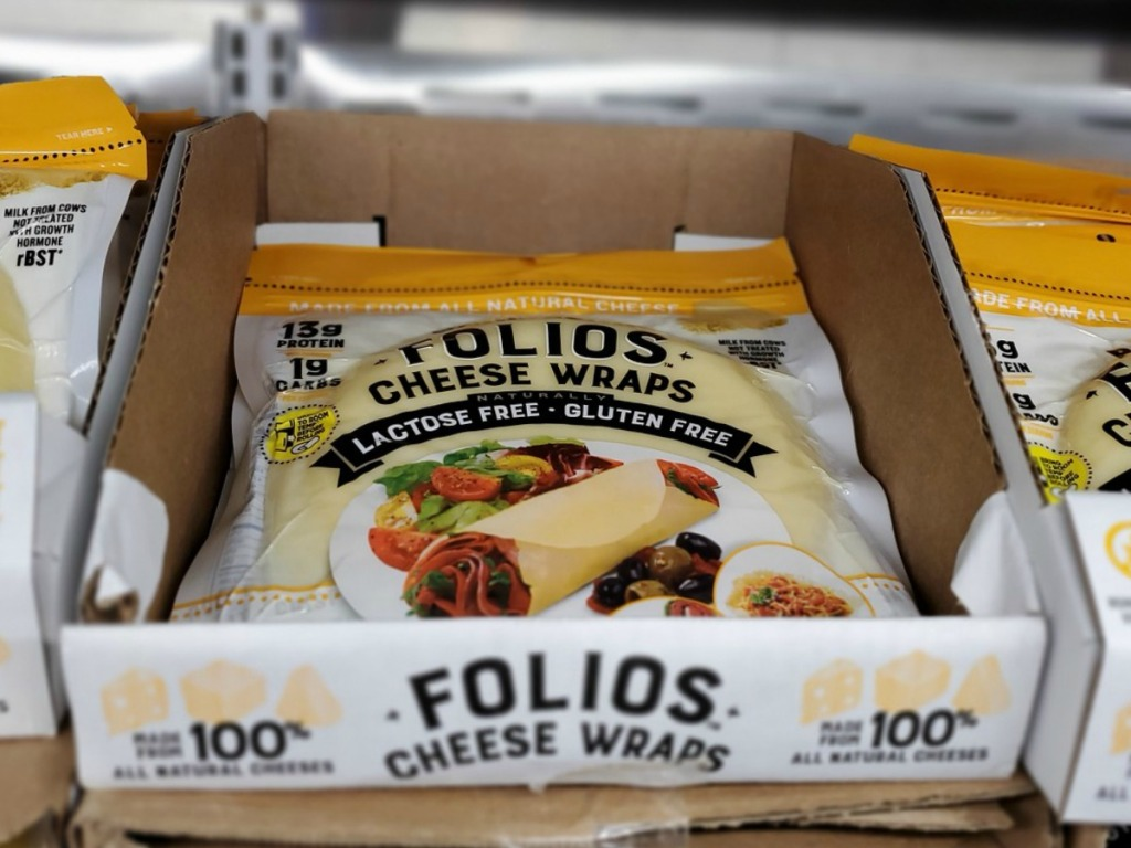 flat cheese tortillas in a package on store shelf