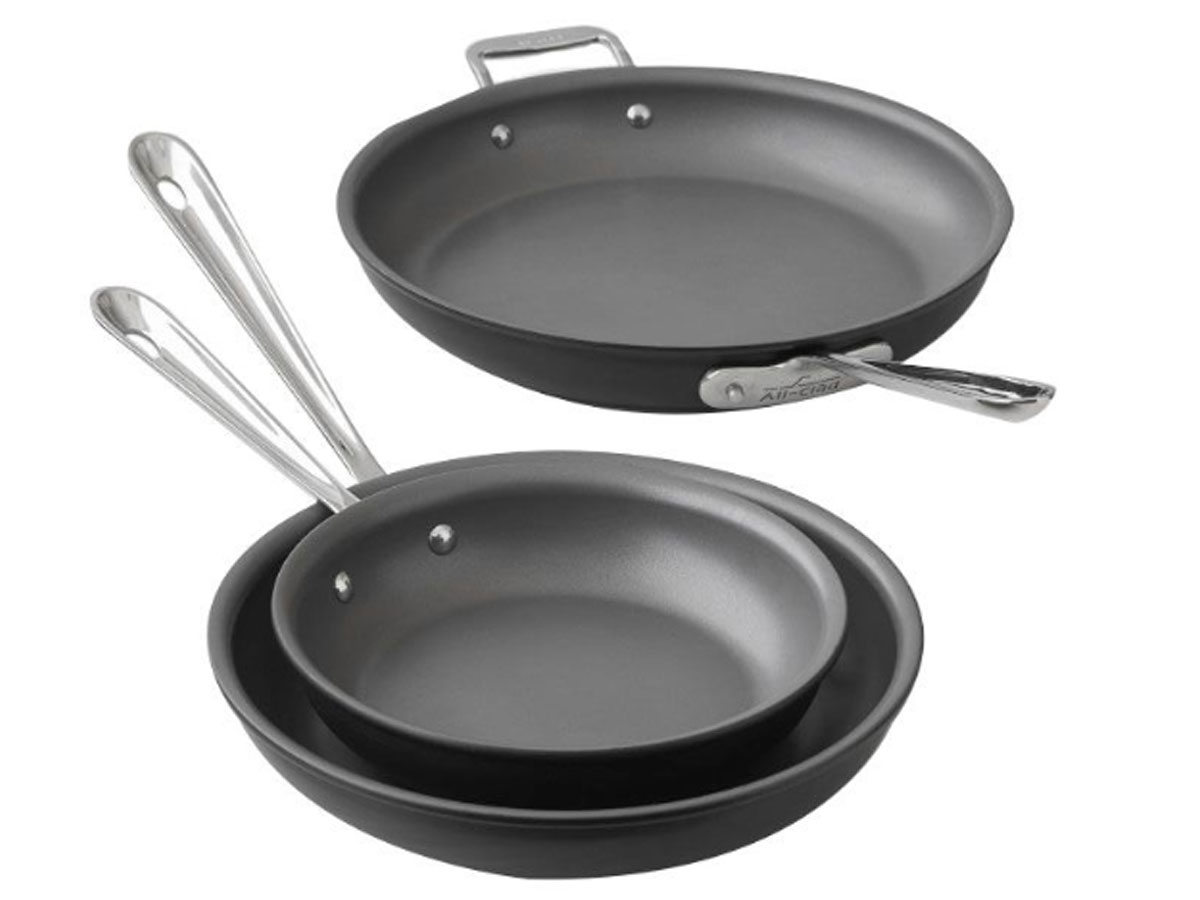 Fry Pan Hard Anodized 3-piece Set stock image