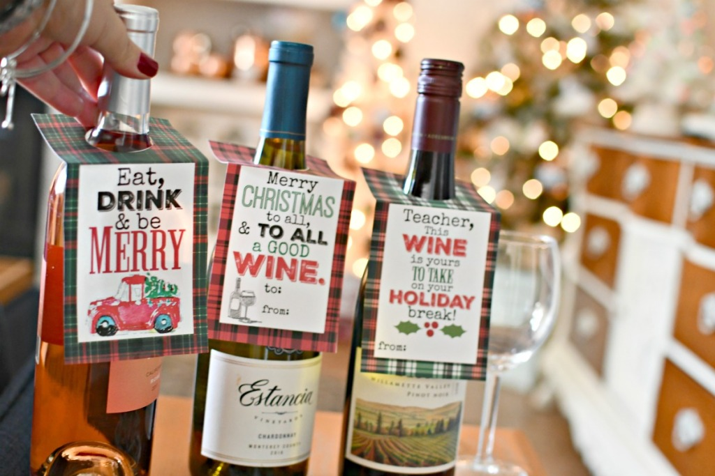 funny free printable christmas wine tags