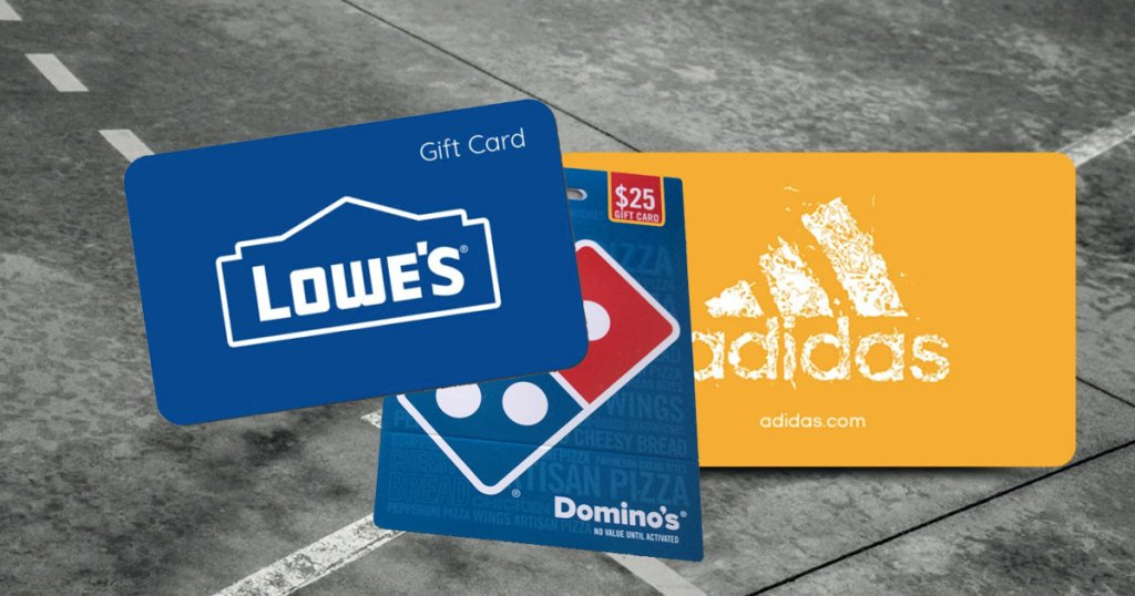 three gift cards from newegg lowe's domino's and adidas